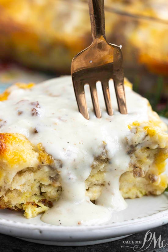 This easy Sausage Gravy Biscuit Bubble Up Casserole is loaded with delicious biscuits baked in a flavorful egg and sausage scramble and topped with gravy! This recipe is great for busy mornings, busy nights, or feeding a crowd.