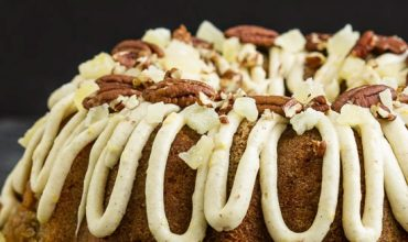 CARROT POUND CAKE WITH PINEAPPLE MASCARPONE FROSTING