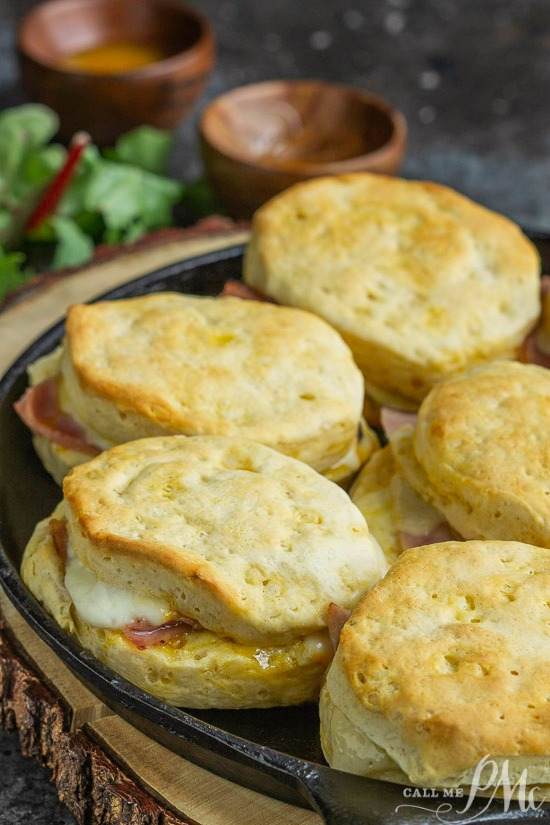 Cheesy Ham Biscuit sandwiches