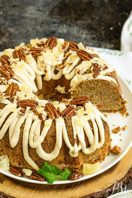 This incredibly tender and moist Blue Ribbon Roasted Carrot Pound Cake with Pineapple Mascarpone Frosting Recipe is the best carrot cake you'll ever make!