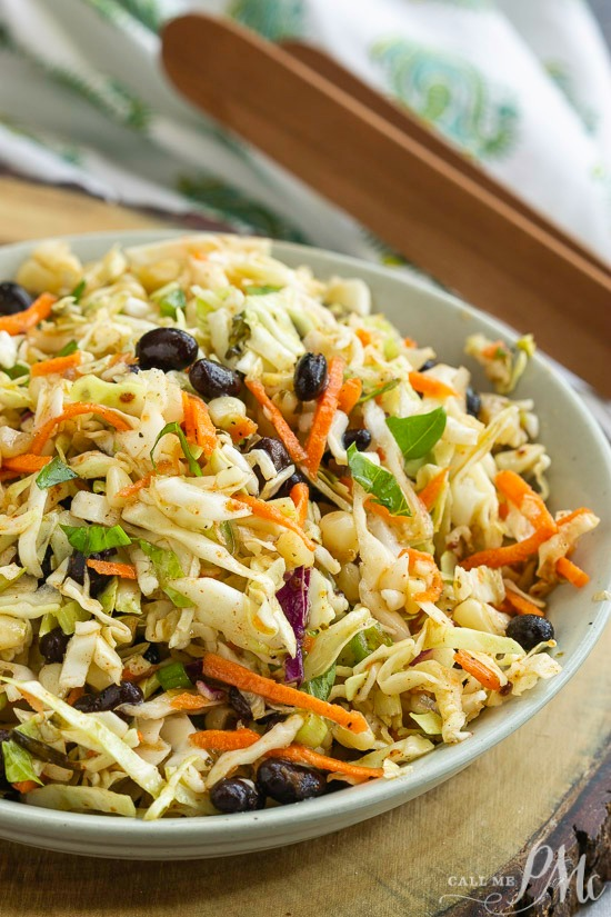 Tex Mex Coleslaw is packed with flavor and perfect for summer cookouts. It also adds a nice crunch to tacos, fajitas, and wraps.