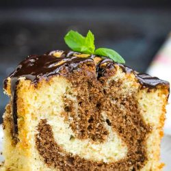Best Fudge Marble Pound Cake is rich and buttery with the best vanilla and chocolate in every bite!