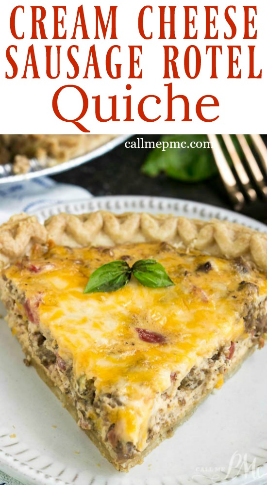 Cream Cheese Sausage Rotel Dip Quiche is seriously delicious. All the flavors of our favorite dip in a quiche! Can make ahead and refrigerate or freeze for later. #recipe #eggs #breakfast #baked #sausage #cheese #dip