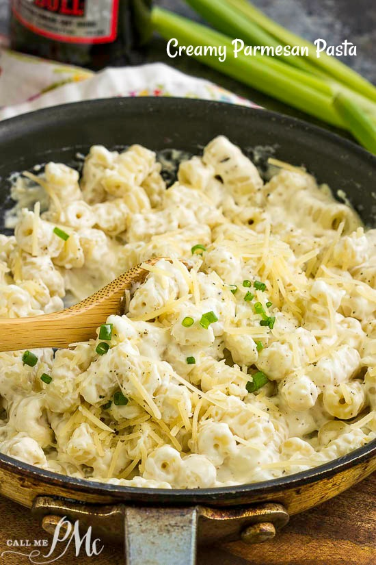 Creamy Parmesan Noodles Recipe, warm and creamy pasta makes the perfect, comfort food side dish that's great any day for any meal. #pasta #noodles #parmesan