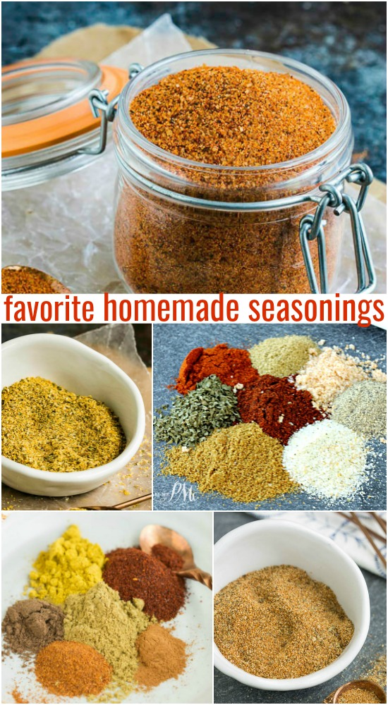Favorite Homemade Seasonings is a collection of recipes of savory spice mixes for meat and fish.