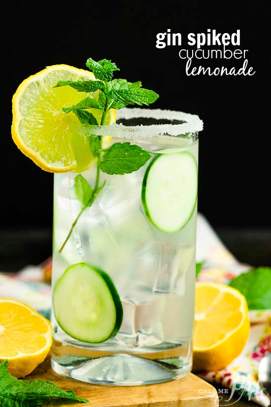 Gin Spiked Cucumber Lemonade is the most easy and delicious boozy recipe to bring to a party. It takes minutes to put together for a deliciously summery cocktail!!