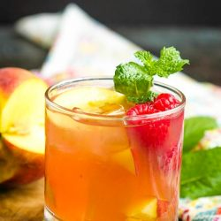 Raspberry Peach Bourbon Smash