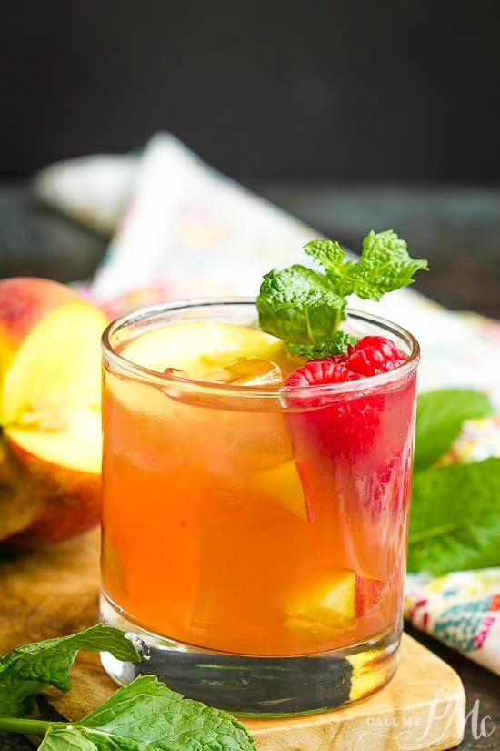 Raspberry Peach Bourbon Smash