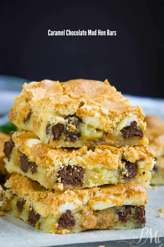 Caramel Chocolate Mud Hen Bars have a cookie bar base topped with marshmallows, chocolate chips, caramel chips, and a brown sugar meringue.