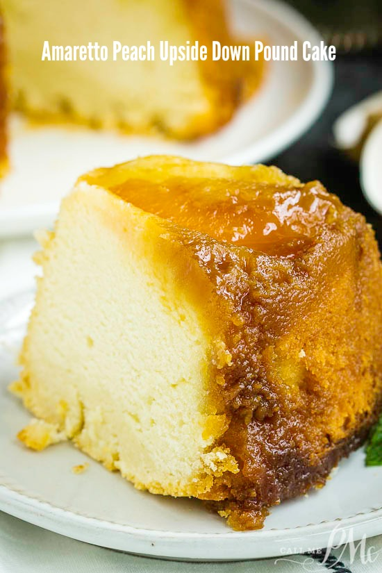 Amaretto Peach Upside Down Pound Cake is bursting with flavor. Two classic cake recipes collide with this perfect dessert. #recipe #peach #poundcake #cake #dessert #poundcakepaula #callmepmc #moist #butter #homemade via @pmctunejones