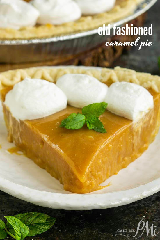 Old Fashioned Caramel Pie Recipe is rich and dense. This splurge-worthy dessert is totally worth the effort! #OCharleys #recipe #caramel #oldfashioned #pudding #salted #dessert via @pmctunejones