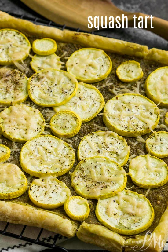 Pesto Squash Tart Recipe, flaky crust and tender summer squash are flavored with pesto, olive oil, and shredded parmesan.