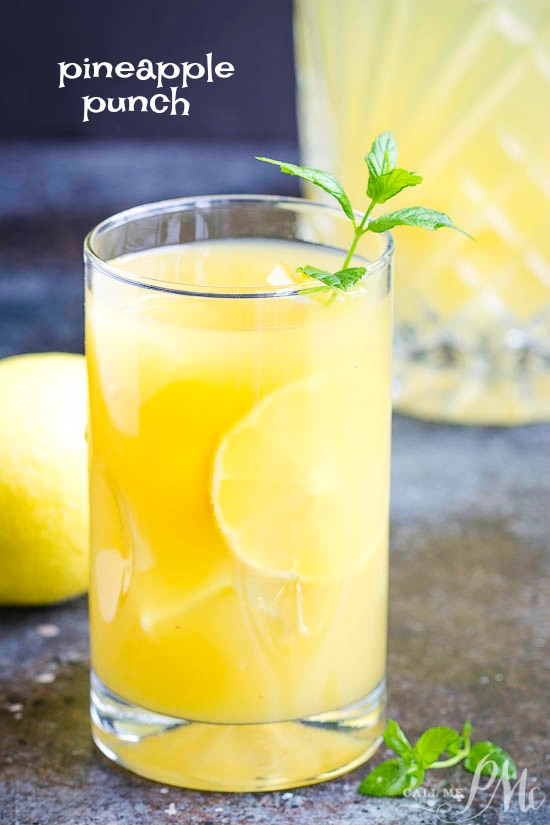 This delicious Pineapple Party Punch is refreshing, vibrant, tart yet sweet. It's the perfect sparkling fruit drink for summer! #drink #easy #summerdrink #pineapple #punch #recipe #nonalcoholic