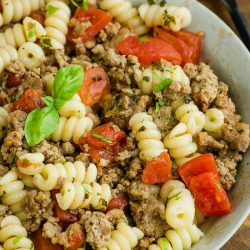 Tipsy Italian Sausage Pasta is incredibly flavorful and an easy recipe for busy nights since it can be on the table in under 30 minutes!