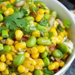 edamame cilantro salad recipe, a healthy salad recipe with a homemade ginger dressing