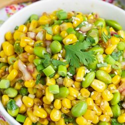 edamame cilantro salad recipe, a healthy salad recipe with a homemade ginger dressing #SALAD #edamame #cilantro #corn #recipe #easy
