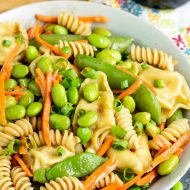 A summer classic with a twist, Potsticker Pasta Salad is loaded with healthy vegetables and topped with toasted sesame dressing