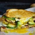 DOUBLE FISTED FRIED EGG BACON AVOCADO GRILLED CHEESE SANDWICH