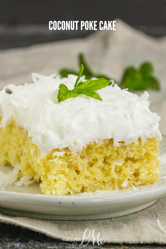 Easy Coconut Poke Cake is out-of-this-world good and oh-so-easy to make! A soft, fluffy cake is filled with two kinds of milk then topped with whipped cream and coconut. #coconut #cake #dessert #recipe #easy #potluck #favorite