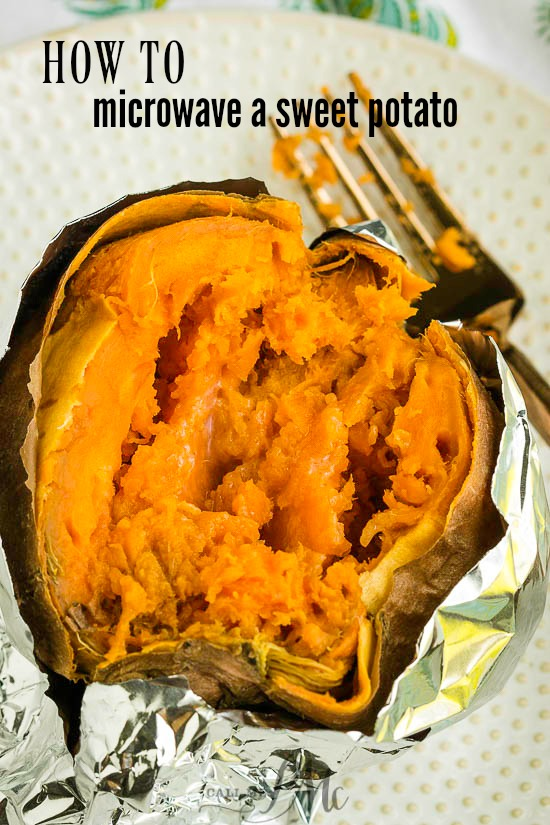Microwave Baked Sweet Potato Recipe is one of my favorite side dishes. Sweet potatoes are delicious, nutrient-dense, & quickly baked in the microwave. #sweetpotato #potato #baked #microwave #sidedish #healthy via @pmctunejones