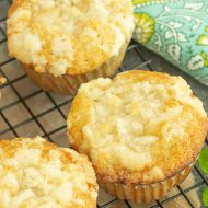 Streusel Topped Peach Cobbler Muffins recipe taste just like peach cobbler. These muffins are fluffy, tender homemade muffins full of sweet peaches and a hint of cinnamon.