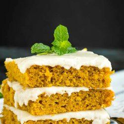 Soft, tender and moist Pumpkin Texas Sheet Cake is the perfect cake for feeding a crowd. #pumpkin #cake #sheetcake #fallcakes #recipes #brownbutter #pumpkinspice