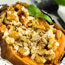 Twice Baked Maple Walnut Sweet Potatoes