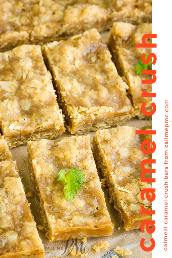 Oatmeal Caramel Crush Bars Recipeare chewy oat bars filled with a rich and gooey caramel. #recipe #bars #oatmeal #caramel #carmelitas #oats #dessert #cookieexchange #Christmas #Christmascookie #cookietray #easy #baked #fromscratch