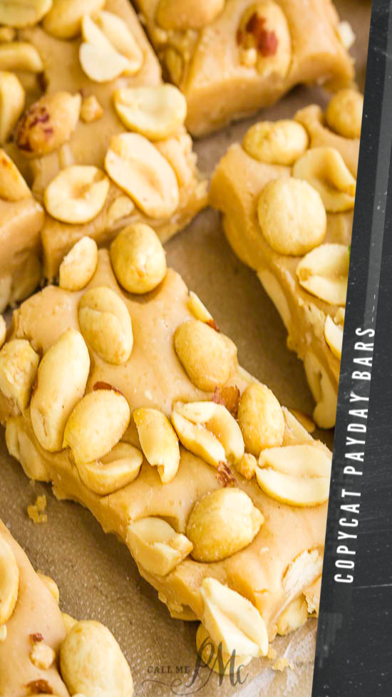 Copycat Payday Bar Recipe, if you're a fan of PayDay Candy Bars made of caramel and peanuts, you'll love this copycat dessert recipe! #copycat #recipe #peanuts #caramel #peanutroll #dessert #snack #homemade #easy #fromscratch