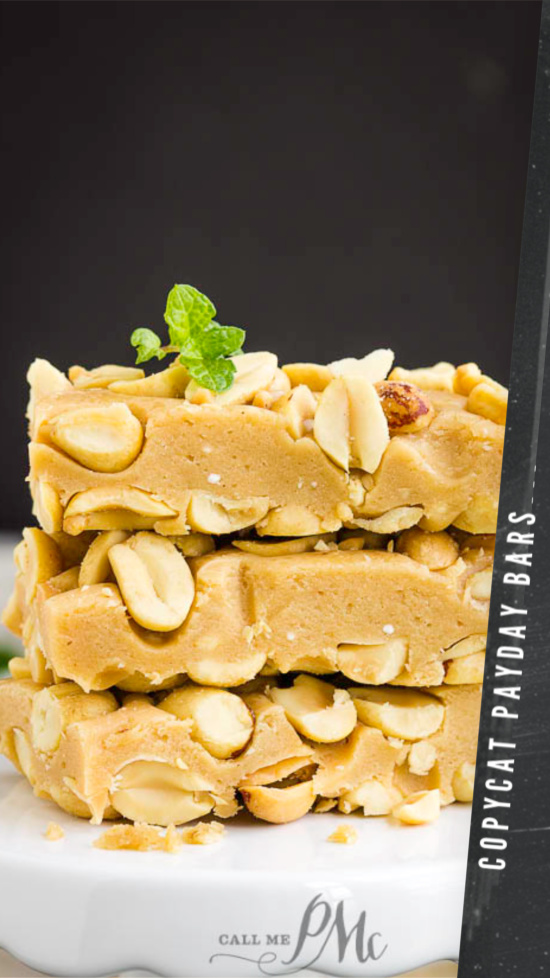 Copycat Payday Bar Recipe, if you're a fan of PayDay Candy Bars made of caramel and peanuts, you'll love this copycat dessert recipe! #copycat #recipe #peanuts #caramel #peanutroll #dessert #snack #homemade #easy #fromscratch #giftideas #recipes #gifts
