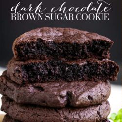Dark Chocolate Brown Sugar Cookies have the perfect chewy texture on the inside with just a bit of crisp on the outside. #darkchocolate #chocolate #cookies #Christmascookies #cookieexchange #easy #Oreo #recipes #chewy
