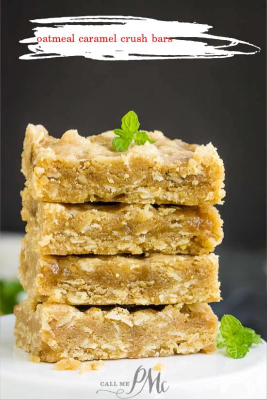 Oatmeal Caramel Crush Bars Recipe recipe are chewy oat bars filled with a rich and gooey caramel. #recipe #bars #oatmeal #caramel #carmelitas #oats #dessert #cookieexchange #Christmas #Christmascookie #cookietray #easy #baked #fromscratch