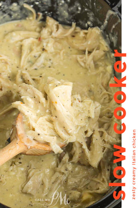 Slow Cooker Zesty Italian Chicken, this easy weeknight dinner has bold flavors. It's hearty, comforting, and great for any time of year! #slowcooker #chicken #Crockpot #recipes #Italian #creamy #zesty #shredded #easy #keto