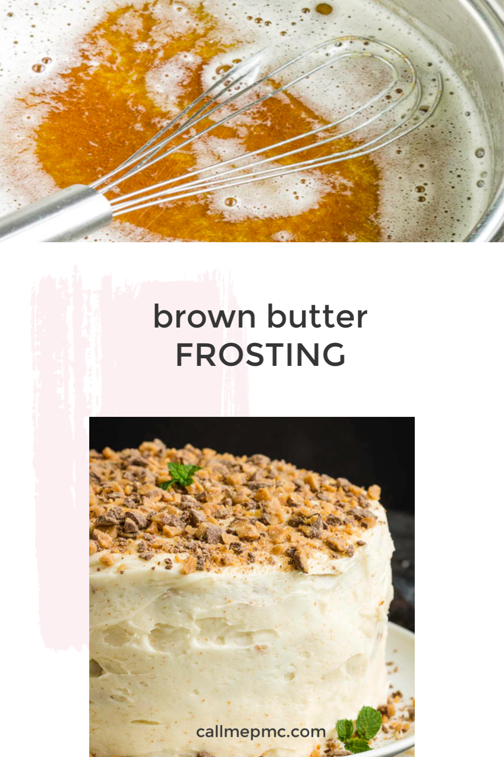 Brown Butter Frosting Recipe is flavored with brown butter for a delicious frosting that's perfect on cakes, cupcakes, brownies, and more! #brownbutter #recipe #howto #brownbutterfrosting #frosting #butter via @pmctunejones