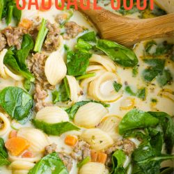 Creamy Italian Sausage Soup Recipe is cozy and comforting! A simple and deliciously warming winter soup recipe. #soup #sausage #Itailan #spinach #recipe #easy #carrots #vegetables