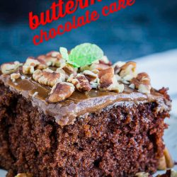 For the chocolate cake lovers, Homemade Buttermilk Chocolate Cake is a delicious sheet cake and the easiest cake to make with perfectly fluffy chocolate buttermilk frosting. #buttermilk #cake #chocolate #recipe #dessert #homemade #fromscratch #easy