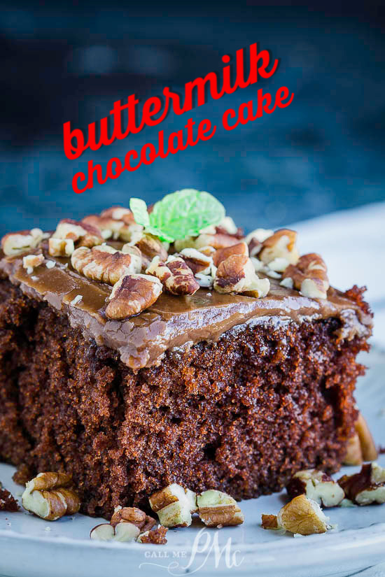 For the chocolate cake lovers, Homemade Buttermilk Chocolate Cake is a delicious sheet cake and the easiest cake to make with perfectly fluffy chocolate buttermilk frosting. #buttermilk #cake #chocolate #recipe #dessert #homemade #fromscratch #easy via @pmctunejones