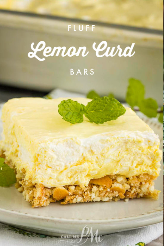 Lemon Curd Fluff Bars have a vanilla wafer crust topped with a tart and sweet lemon filling topped. These are unbelievably delicious. #lemon #dessert #recipe #easy #nillawafers #lemoncurd #coolwhip #callmepmc #salad #jello
