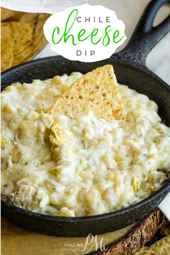 Quick Chile Cheese Dip is the ultimate party dip recipe. It has all the cheesy goodness a dip should have plus it's quick and easy to make. #appetizer #dip #recipe #cheese #chile #greenchiles #easy