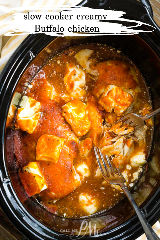 This Slow Cooker Creamy Buffalo Chicken never disappoints! This chicken recipe is packed full of flavor. It's easy, creamy, delicious and so versatile! #chicken #slowcooker #crockpot #Buffalosauce #sauce #spicy #Keto #wings #creamcheese