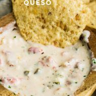 This Easy White Queso Dip recipe is made with three kinds of cheese. It's spicy, creamy, and will become a new family favorite! Be prepared for it to disappear fast! #dip #cheese #cheesedip #recipe #spicy #TexMex #jalapenos #tailgating #gamewatching #parties