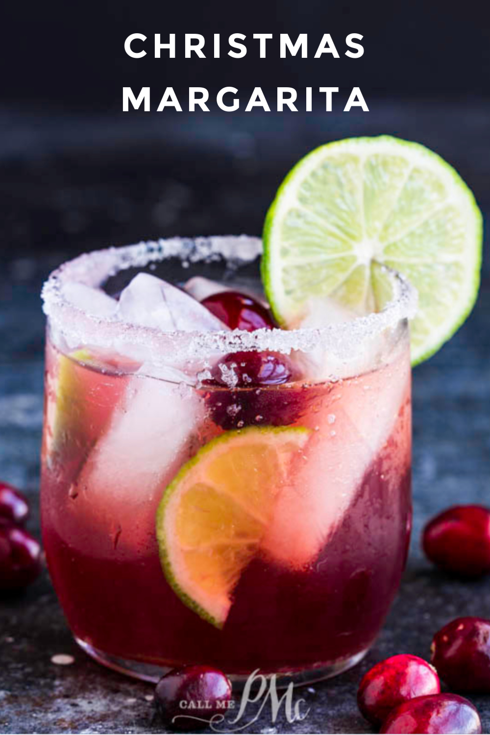 Festive Christmas Margarita Recipe is easy to make, tastes delicious, and the perfect holiday cocktail. #cocktail #recipe #drink #margarita #Christmas #tequila #cranberry