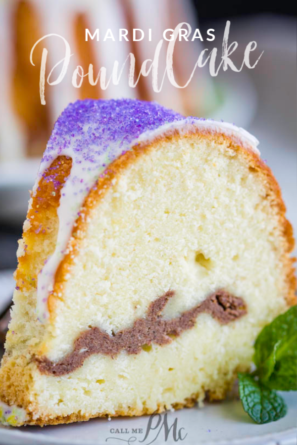 Mardi Gras Pound Cake is a cream cheese and cinnamon filled pound cake and vibrant Mardi Gras colored sugars to garnish. #poundcake #cake #MardiGras #dessert #recipe #cinnamon #creamcheese #bundt