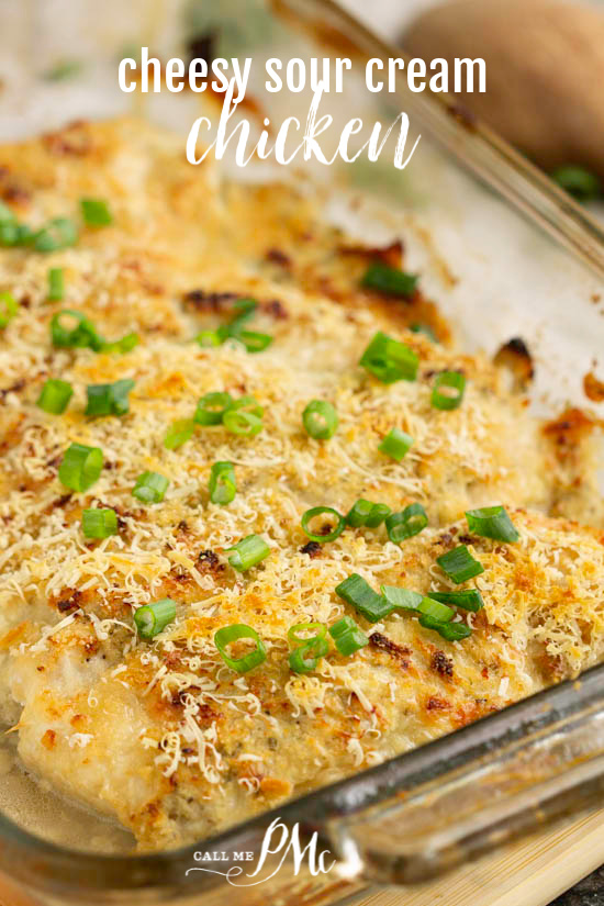 Cheesy Sour Cream Chicken I marinated chicken breasts in seasoned sour cream and coated them with parmesan cheese. This is a meal the whole family loves for dinner! #dinner #chicken #sourcream #cheese #recipe #baked #easy #entree