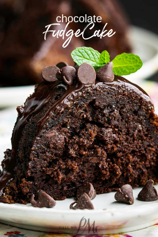 Chocolate Fudge Bundt Cake Recipe is a devilishly rich, ridiculously moist & decadently fudgy recipe that's topped with a short-cut chocolate ganache. #cake #chocolate #chocolatecake #chocolatebundtcake #bundtcake #withpudding #sourcream #recipe #easy #frombox #mix #glaze #homemade #deathby #frosting #best #German