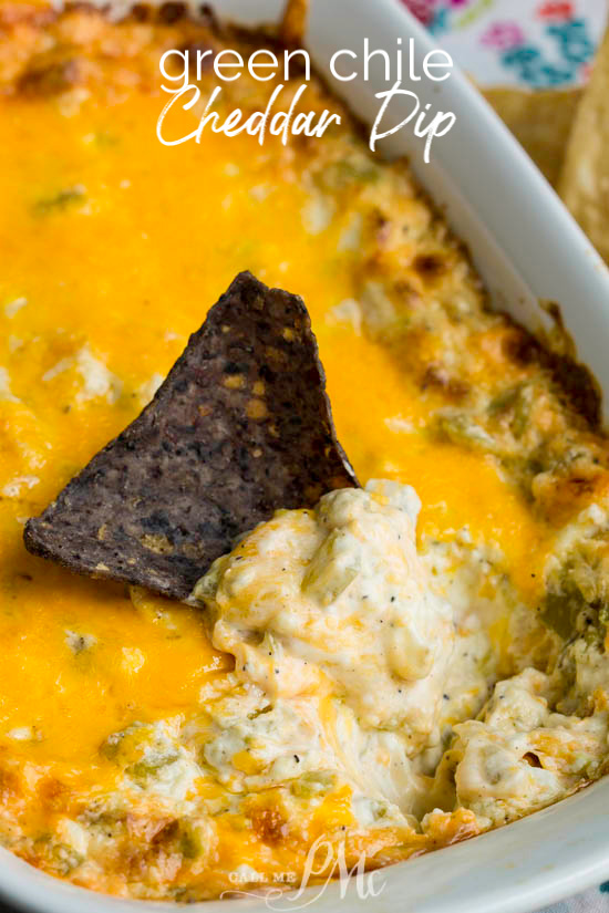 Green Chile Cheddar Dip with cream cheese, cheddar, green chiles, and spices is simple to mix together in minutes. It's then baked until hot, gooey, and bubbly. #TexMex #dip #recipe #creamcheese #greenchiles #hatch