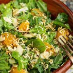 Romaine Toss, a zesty, sweet and spicy salad is a perfect lunch or side in 5 minutes! #salad #recipe #romaine #orange #mandarinorange #easy #ramen #almonds #healthy #greensalad