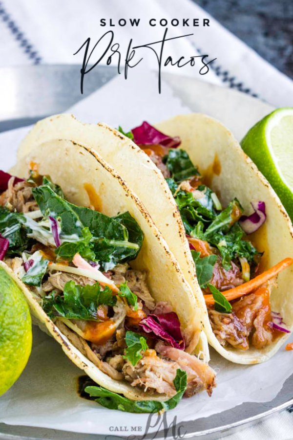 Slow Cooker Pulled Pork Tacos are unbelievably tender, juicy, versatile, and easy to make in your Crock-Pot! They are great for large crowds, busy nights, and make-ahead meals. #pork #pulledpork #recipe #slowcooker #tacos #easy #Mexican #Crockpot #carnitas