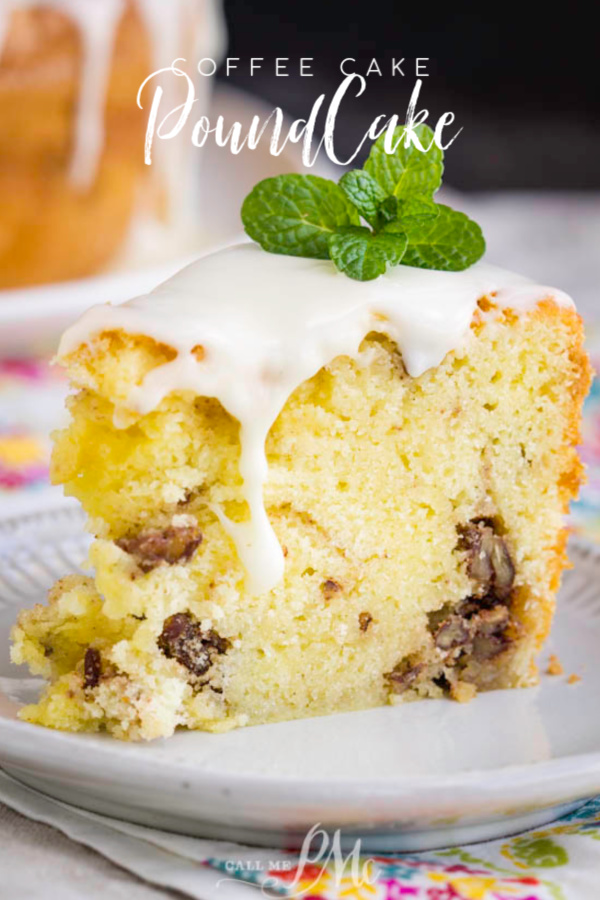 Buttery, tender and rich Coffee Cake Pound Cake Recipe has lovely cinnamon and pecan swirl inside and a simple vanilla glaze on top. #coffeecake #cake #poundcake #poundcakepaula #callmepmc #homemade #cinnamon #easy #pecans