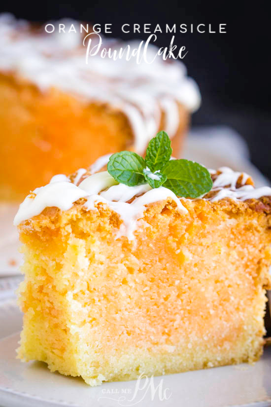 Orange Creamsicle Pound Cake has a bright citrus flavor and a cream soda glaze that you can't stop eating! It's dense, butter, and velvety smooth. #cake #poundcake #poundcakepaula #dessert #recipe #easy #creamsicle #orange #orangecreamsicle #homemade #southern #food #eat #creamcheese #buttermilk via @pmctunejones